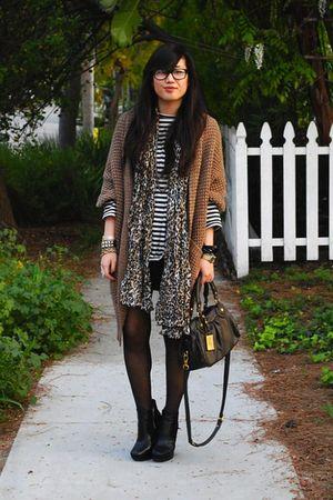 black H&M dress - white Zara shirt - brown Forever 21 cardigan - brown H&M scarf