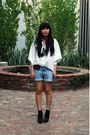 White-tart-shirt-blue-h-m-shorts-black-sam-edelman-boots-black-marc-jacobs