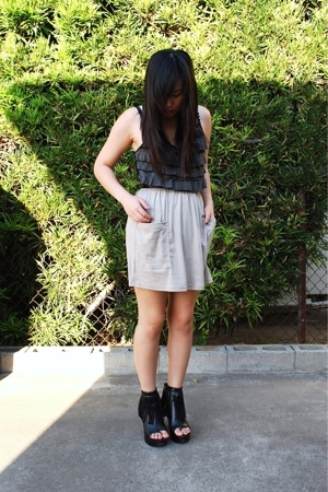 forever 21 top - American Apparel skirt - forever 21 boots - Hot Topic bracelet