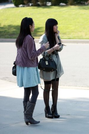 gray Zara dress - black American Apparel socks - black sam edelman boots - gray