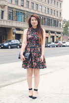 black heels Zara shoes - cut-out floral Forever 21 dress