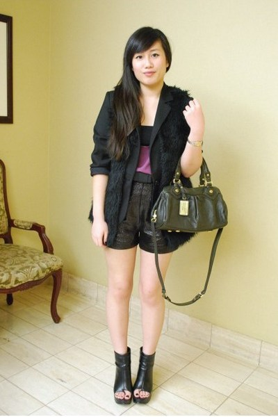purple top - black Mango blazer - black Forever 21 vest - black Forever 21 short