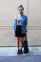 forever 21 top - H&M shirt - H&M skirt - H&M purse - Dolce Vita shoes