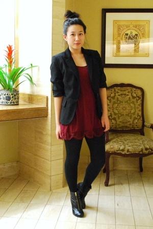 forever 21 blouse - MNG blazer - H&M leggings - H&M boots