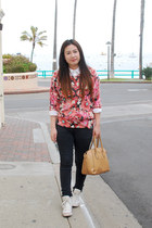 black denim cotton on jeans - salmon floral Forever 21 sweater