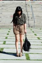 green BORA shirt - brown H&M shorts - black H&M purse - beige Jeffrey Campbell s