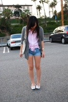 white fringed flats H&M shoes - pink Forever 21 shirt - white H&M bag