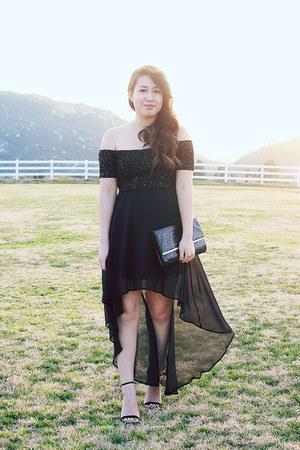 black Urban 1972 dress - black Forever 21 purse - black sandal asos heels