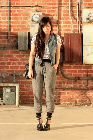white H&amp;M dress - blue Forever 21 vest - heather gray Forever 21 pants - black A