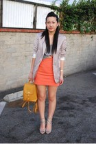 yellow backpack coach purse - gray Steve Madden Madden shoes - gray H&M blazer