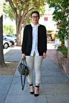 black Zara shoes - beige cotton on jeans - white cardigan Forever 21 shirt
