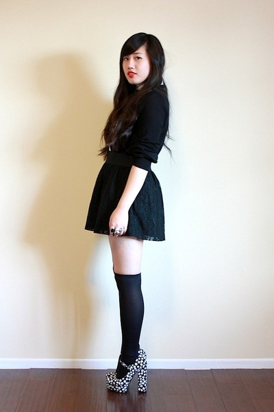 white Forever 21 blouse - black Forever 21 cardigan - black Forever 21 skirt - b
