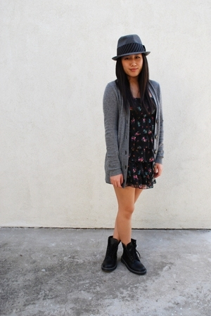 H&M dress - abercrombie & fitch - forever 21 boots - forever 21 hat