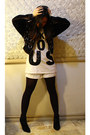 Black-forever-21-shoes-white-zara-shirt-white-guess-shorts