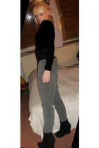 silver H&M pants - black shirt - black belt - black Catwalk shoes