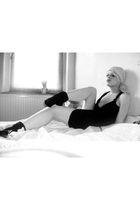 black H&M dress - black stockings - pink H&M accessories