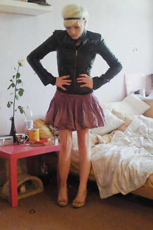 purple c&a skirt - black H&M jacket - pink shoes