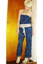 blue pants - beige H&M belt - beige Tally Weijl shoes