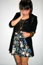 black vintage bodysuit top - black vintage blazer - black Silence  Noise skirt -