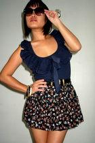 black DIY skirt - blue Topshop top - black vintage belt - black vintage sunglass