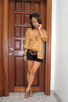 gold Vintage Diane Gilman blouse - black random shorts - brown Bjorn shoes - bro