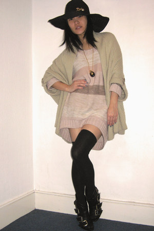 black Aldo boots - peach H&M sweater - beige asos cardigan