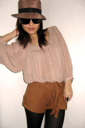burnt orange asos shorts - light pink H&M blouse