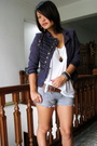 Blue-h-m-diy-balmain-inspired-jacket-white-topshop-t-shirt-gray-ichi-shorts-