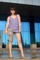 purple Fashion House top - blue TRF shorts - beige Aldo shoes - beige bcbg max a