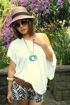 white Topshop top - blue DIY shorts - brown linea pelle belt - white christian d