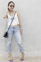 light blue American Eagle jeans - charcoal gray asos bag