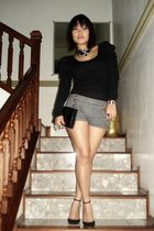 black Fashion House top - black Miu Miu shoes - gray Old Navy shorts
