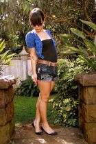 blue random borrowed from sis cardigan - black Mr Price top - blue DIY shorts -