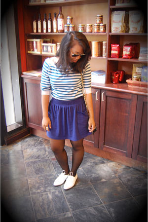 blue shirt - blue Forever 21 skirt - white shoes - black stockings