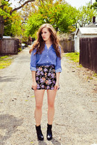 purple Urban Outfitters shorts - sky blue Forever 21 shirt