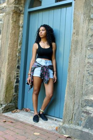 black Mossimo shoes - light blue high waisted vintage shorts