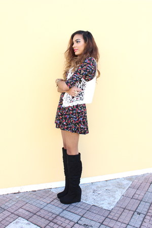 black Forever 21 boots - brick red Forever 21 dress