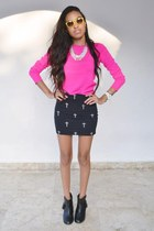 black Forever 21 boots - hot pink Forever 21 sweater - black Bershka skirt