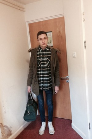 olive green parka asos coat - navy spray on skinny Topman jeans