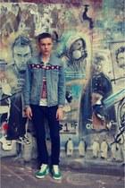 aztec denim Topman jacket - navy drain H&M jeans - Topman t-shirt