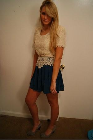 beaded vintage shirt - teal Forever21 skirt