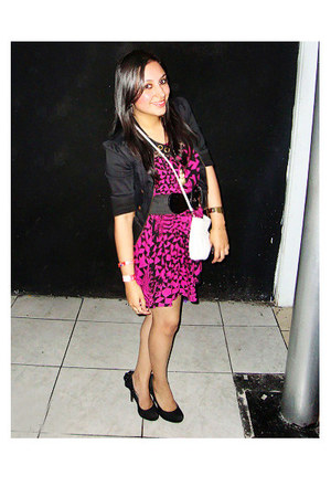 hot pink Forever 21 dress - black Forever 21 jacket - black Quipid heels