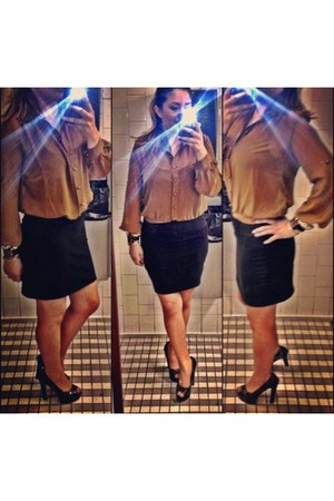 Forever 21 blouse - Express skirt - Jessica Simpson heels