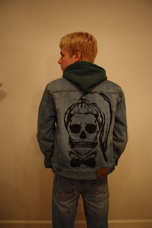 sky blue American Eagle jeans - sky blue DKNY jacket - teal Old Navy hoodie
