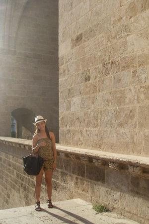 black longchamp purse - brown BLANCO dress - beige Panama Jack hat - black got t