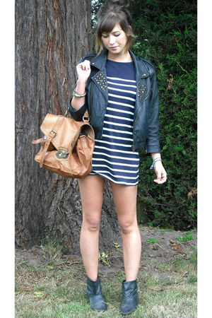 black asos jacket - blue new look dress - black boots - brown asos