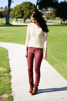 brown franco sarto boots - beige Zara shirt - brick red asos pants