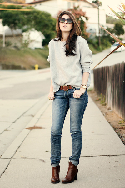 brown franco sarto boots - blue kasil jeans - brown Chicwish sunglasses