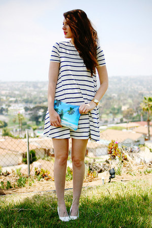 white asos dress - turquoise blue DIY purse - white Pleaser heels