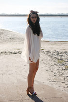 ivory LF dress - nude Zara heels - red Urban Outfitters hair accessory